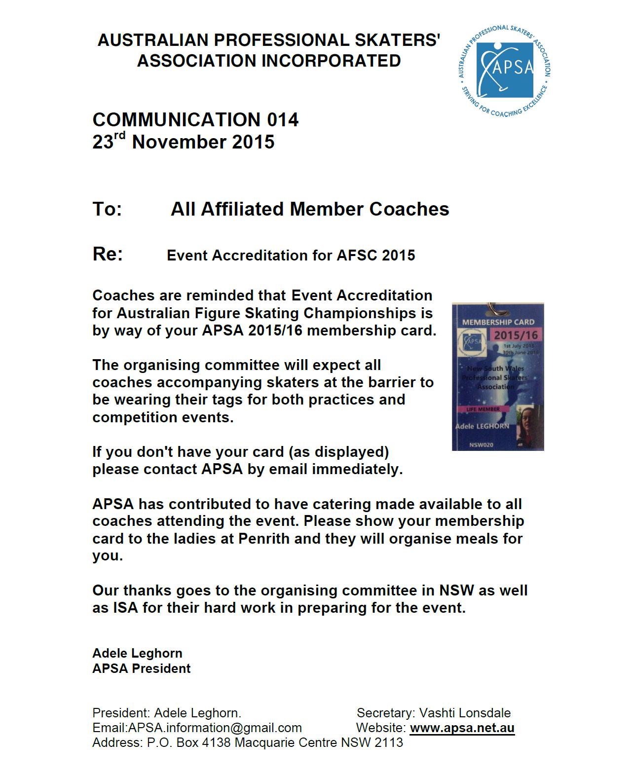APSA Announcement 014 - Event Accreditation AFSC 2015